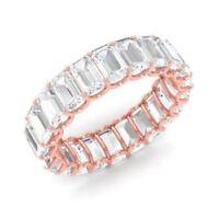 Real 14K Rose Gold Band 3.50 Ct Emerald Cut Diamond Eternity Wedding Ring Size 7