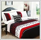 280TC Black Red White Pintuck Embroidered * 3pc KING QUILT DOONA COVER SET