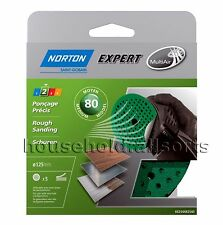 Norton Sanding Disks Set of 5 Self-adhesive Diameter 125 / Grain 80 Multi-air