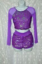 VTG Purple Sequin Spandex Dancewear Showgirl Cheerleader Top Shorts Set S M