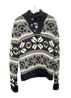 EZRA FITCH Womens Abercrombie WOOL FairIsle Nordic Holiday Sweater Top Sz L