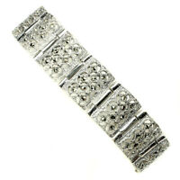 Natural Round Champagne Marcasite 925 Sterling Silver Bracelet 7.5 Inches