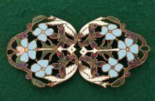 Vintage Ladies Ornate two Piece Brass & Enamel Flower Belt Buckle