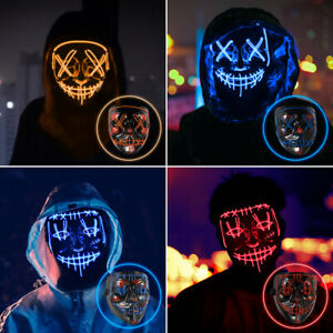 LED Maske Halloween Deko Halloween Maske LED-Horror / Party / Purge DHL SHIP