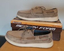 NEW Skechers Men's Canvas Boat Shoes RELAXED FIT MEMORY FOAM TAN BROWN SIZE