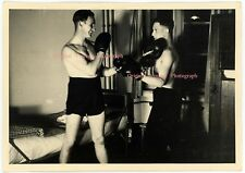 VINTAGE Snapshot Photo German Youth Boy Young Man Male Physique Boxing Gay 1937