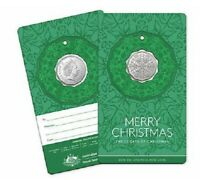 2019 MERRY CHRISTMAS 1 Days of Christmas 50c Coin on Green Card