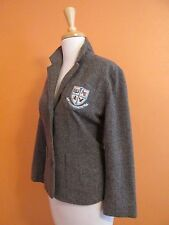 American Eagle Womens Size L Brown Tweed Academy Prep School Crest Blazer Jacket