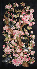 JAPANESE RED ROOSTER KIYOMI BUTTERFLY CHERRY BLOSSOM BIRD COTTON PANEL FABRIC