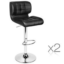 Set of 2 Black Leather Kitchen Bar Stools Padded Gas Lift Steel Dining Chair