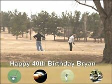 A4 GOLF PLAYER CLUBS FLAG BIRTHDAY CAKE TOPPERS PERSONALISED ON RICE PAPER