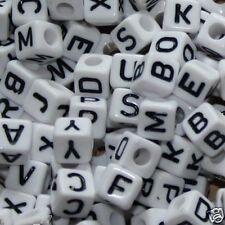 ca 250 weiße Buchstabenwürfel 8 x 8 mm Buchstabenperlen Buchstaben Perlen Würfel