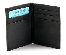 New Mens Bifold Genuine Leather ID Holder Wallet Black Window Card Thin Zip Case