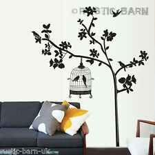 Artistic Tree & Bird Cage Silhouette Home Decoration Wall Sticker Art Decal UK