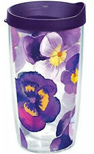 Tervis 1243665 Watercolor Pansy Tumbler with Wrap and Royal Purple Lid 16oz Nice