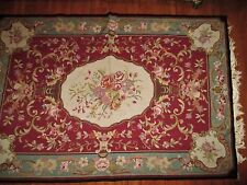 Vintage Antique blue floral wool Aubusson needlepoint area rug shabby Chic