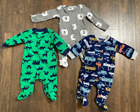 Baby Boy Footed Pajamas Lot Of 3 Carters Newborn Size NB Animals Cars Sleepwear