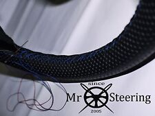 FOR BENTLEY R TYPE 52-55 PERFORATED LEATHER STEERING WHEEL COVER BLUE DOUBLE STT