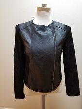 NEW Jack by BB Dakota Faux Leather Vegan Moto Biker Jacket Black Lace Sleeves S