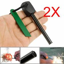 2X Survival Magnesium Flint And Steel Striker Fire Starter Lighters Stick Campin