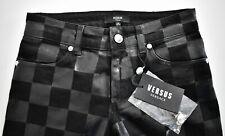 $545 New VERSUS VERSACE Black CHECK PRINT Slim Skinny Women's Pants Jeans 25