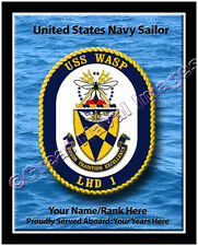 USS Wasp LHD 1 Personalized Ship Crest Print on Canvas 2D Effect