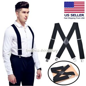Mens Braces Suspenders Black 50mm X Back Heavy Duty Biker Snowboard Trousers