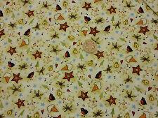 Tessuto Natale Robins CAMPANE STELLE i coni di neve pulsanti FQs 100% cotone | CR52