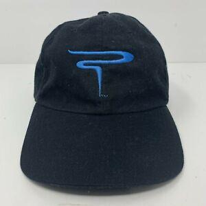 Powerade Logo Baseball Strapback Hat Black With Blue Logo Adjustable OSFA Cap