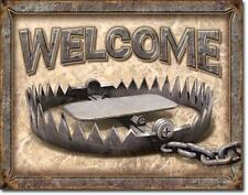 Welcome Bear Trap Metal Tin Sign Cabin Lodge Man Cave Picture Funny Gift USA