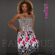 Animal Print Polyester Dresses for Women with Empire Waist