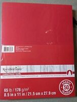 8.5x11 Solid Color Cardstock Paper Pack - Red - 50 Sheets