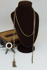 """ANTIQUE WHITE METAL LONG CHAIN WITH TASSEL  31 """" LONG"""