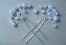 LADIES/GIRLS FASHION-WEDDING-DANCEWEAR 1 Pair x 9cm Long Pearl Hair Pins