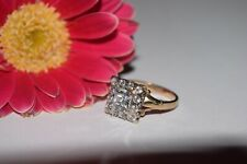 9ct Yellow Gold Square Shaped Cubic Zirconia Cluster Ring