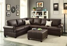 Modern Living Room Espresso Bonded Leather Sectional Sofa L/R Loveseat Couch Set