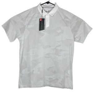 New Under Armour Mens Polo Shirt Large L White Golf HeatGear Short Sleeve Loose