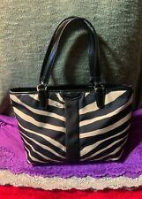 Coach Zebra Black & White Multi Nylon Patent Leather Trim Mini Dog Leash Hobo