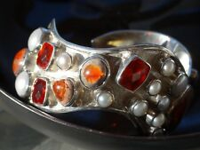 Starborn 14cts Fire Opal Button Pearl 925 STERLING SILVER CUFF Designer BRACELET