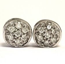 14k white gold .21ct SI2 I1 G diamond button cluster stud earrings 2.5g estate