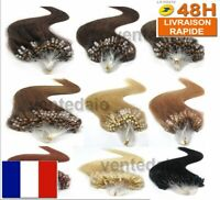 25 50 100  EXTENSIONS 100% CHEVEUX NATURELS REMY POSE A FROID EASY LOOP 53CM AAA