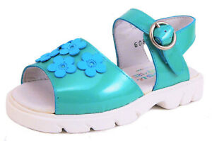 DE OSU - Toddler Girls Turquoise Patent Leather Sandals - European Sizes 4-10