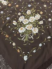 "Vintage 1920's Brown Silk Embroidered Floral Fringed Piano Shawl Size 42""X42"""