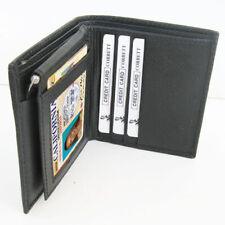 Black Genuine Leather Men's Money Clip Bifold Wallet Card Front Pocket