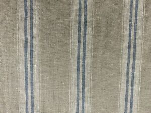 French Vintage Linen Stripe Petrol Blue Grey Curtain/Craft / upholstery Fabric