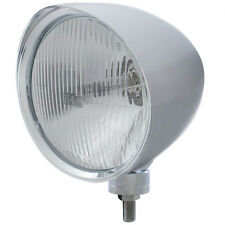 "Chrome 7"" Billet Style ""CHOPPER"" Headlight w Smooth Visor - H4 Halogen Bulb"