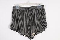 VIntage 80s Black White Nylon Running Shorts USA Mens Size Small