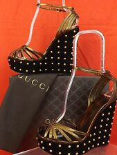 GUCCI BRONZE LEATHER BLACK SUEDE STUDDED WEDGE PLATFORM SANDALS 36 6 #337878