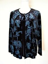 Black with Blue Sparkle Floral Dressy Jacket With Attached Top