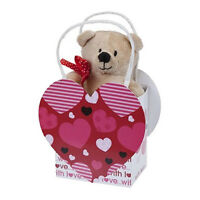 """4.5"""" TEDDY BEAR IN A HEART GIFT BAG PLUSH SOFT VALENTINES DAY PRESENT CUTE NEW"""